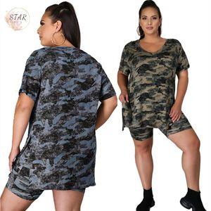 2021 Новые шорты наборы плюс размер 5XL двух частей женская одежда летняя камуфляж трексуиты свободных повседневных беговых костюм оптом Dropshipping LY