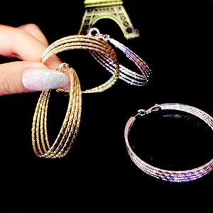 Exaggerated Rhinestone Shiny Circle Hoop Earrings Large Round Earring for Women Brincos Fashion Jewelry Accessories
