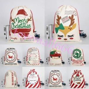 Wholesale 50*70cm Large Canvas Christmas Santa Sacks Gift Bags Santa Sack Drawstring Bag With Reindeers DHL