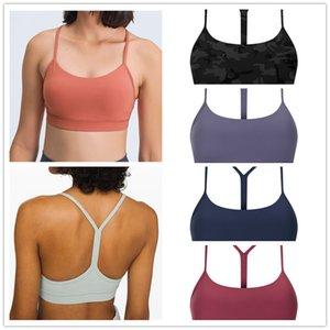 Womens tanks Padded Gym lulu Y-Type Lengthen Workout BrasWomen Naked-feel Fabric Plain lu Sport Yoga Bras Fitness Crop Tops