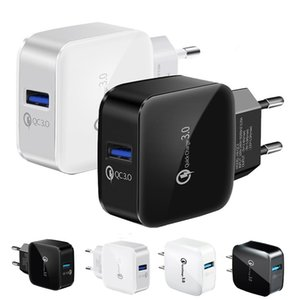 Portable Fast Quick Charging QC3.0 EU US AC home Wall Charger For Iphone 7 8 11 12 Samsung Htc Android phone Pc mp3