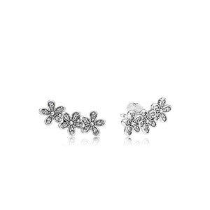 Fashion Authentic 925 Sterling Silver Flowers Earring with box logo Signature with Crystal for Pandora Jewelry Stud Earring Women's Earrings