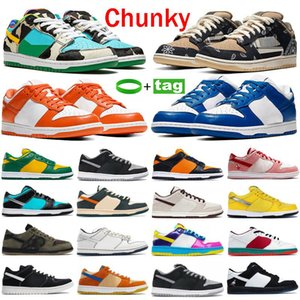 New Plat-Form Shoes Chunky Travis Tie-Dye Black White Varsity's Day Royal Shadow Fashion Hombres Zapatos Pino Verde Mujer zapatillas de deporte Entrenadores