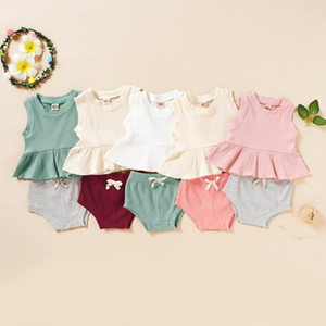 #50 2021 New Arrival Kids Clothes Baby Girls T-shirt Sets Summer Boys Pants Shorts Designer Patchwork Ribbed Outfit Pajamas