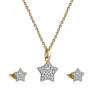 Zircon Inlaid Titanium Серьги Ожерелье Корейский мода Пентаграмма Нержавеющая сталь Ювелирные Изделия Набор для ногтей