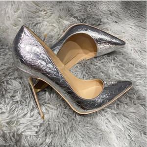 Así Kate Styles 8 cm 10 cm 12 cm Tallas grandes Euro45 Zapatos de tacón alto para mujer Parte rojo Plata Puntas puntiagudas Pumps Bombas de goma Boda de novia Plaza de vestir