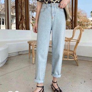 Women's Jeans High-Waist Straight Light-Colored 2021 Spring Korean-Style Pantalettes