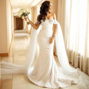 Luxurious Lace Mermaid Wedding Dresses Sweetheart Arabic Aso Ebi Bridal Gowns Beaded Elegant robes de mariée