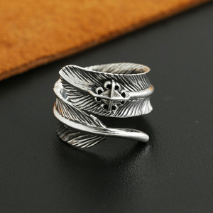 Brand 925 sterling silver jewelry antique silver American Japanese hand-made designer feather open adjustable rings for men women