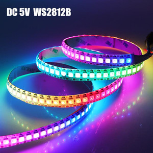 DC 5V WS2812B LED tira inteligente cor completa RGB LED tira 30/60/144 LEDs / M WS2812 IC IP30 IP65 Pixel 1M 3M 5m