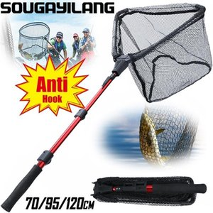 SOUGAYILANG FISCHERNET 70/95/120cm Folding Fishing Brail Net Landing Scoop mit EVA Griff Werkzeugen