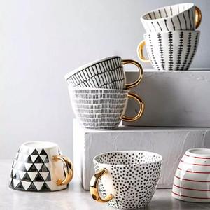 Creative Irregular Ceramic Coffee Mug with Gold Handgrip Handmade Big Pottery Tea Cup Travel Kitchen Tableware Nordic Home Decor DHC6174