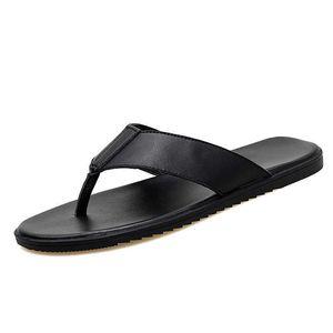 Men's Summer Beach Leather Soft Casual Flip Flop Men Slippers 210908
