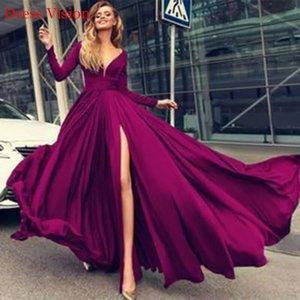 2021 халат Soiree с длинными рукавами шифон выпускные E элегантные партии платья Vestido Fiesta de boda Split G1QL