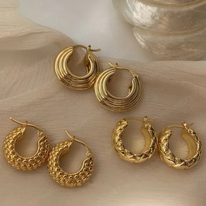 New Copper Gold Plated Threads Textured Rhombus Earrings Geometric Round Circle Huggie Earrings for Women