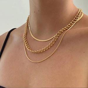 Multilayer Snake Chain Twist Chain Necklace Set for Women Vintage Hip Hop Choker Sweater Necklaces Boho Beach Party Statement Jewelry Gift