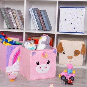 Haojianxuan Cube Boîte de rangement non tissé pliable Dessin animé Animal Children Toys Coffre et placard Organisateur 210315