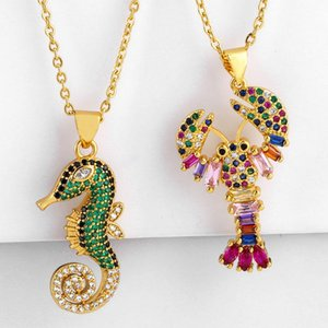 Dainty Seahorse Crayfish Pendant Necklaces Rainbow Colorful Zirconia Bar Necklace For Womens Charms Animal Jewelry nke-p52