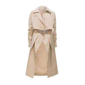 Women's Trench Coats [EWQ] Khaki Casual Spring Windbreaker Lapel Long Sleeve Sashes Korean Female Clothing 2021 Fashion 16E3952