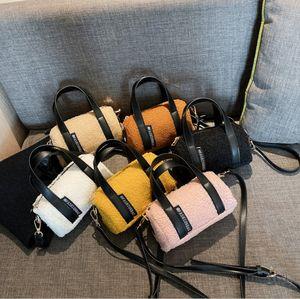 Children faux fleece handbags girls letter circular single shoulder bags kids messenger boston bag luxury women mini purse Q2232