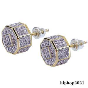 Luxury Designer Earrings Luxury Jewelry Men Earrings Hip Hop Iced Out Diamond Square Gold Bling Rapper Stud Earrings