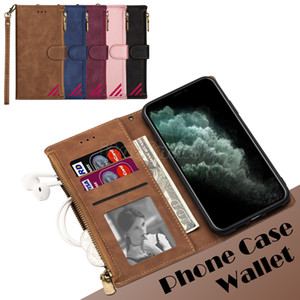 Zipper Wallet Phone Case for iPhone 12 Mini 11 Pro X XR XS Max 6 7 8 Plus Samsung Galaxy Note20 S20 Ultra PU Leather Flip Stand Cover Case