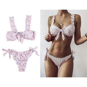 Women's Floral Printed Bikini Suit Sexy Swimsuit Tie Knot Front Floral Print Beach Wear Padded Swimwear Set