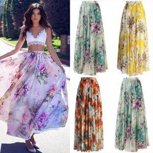 여성 스커트 2020 뉴 시폰 Boho Womens Floral Jersey Gypsy Long Maxi 풀 스커트 비치 Sundress