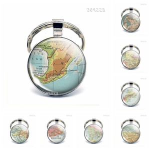 Map of North America crystal pendant Canada Mexico Costa Rica fashion souvenir key chain men's and women's jewelry gifts