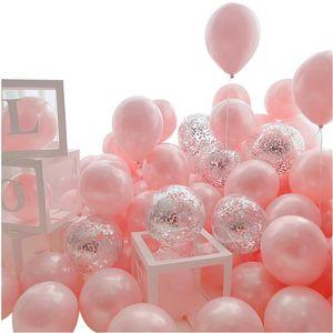 18 adet 12 inç Altın Gümüş Pembe Krom Metal Lateks Balonlar Konfeti Düğün Doğum Günü Partisi Dekorasyon Helyum Globos Yeni Yıl 2021