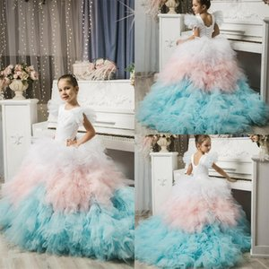 Colorful Flower Girl Dress For Weddings Jewel Neck Appliqued Tiered Tulle Birthday Gowns Pageant First Communion Wear