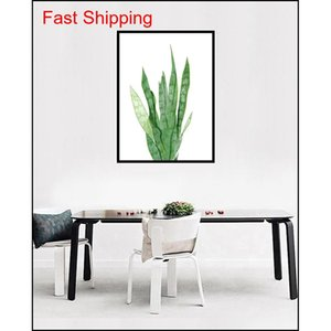Modern Watercolor Tropical Leaf Posters Canvas Floral Green Plant Art Prints Living Room Kitchen Wall Photos Painting qyluXb mj_bag