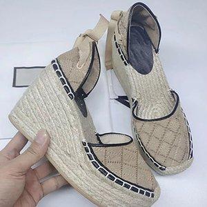 Women Wedge Sandals Women Espadrille Strap Round Wedge Heel Heels Fashion Genuine Leather Fisherman Wedding Dress Party Shoes With Box NO13