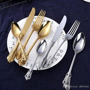 Retro flatware set silver and gold stainless steel cutlery set High-grade knife fork spoon 4-piece dinnerware set tableware sets LXL899-1