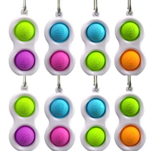 Push Pop Bubble Keychain Type Toy 10pcs sensory Fidget Simple Dimple Tasto Anello 2 Palle Borsa Pendenti Stress Sollier Anti Ansia HH3301
