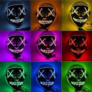 Máscara de horror de Halloween LED Máscaras que brillan intensamente Mascarillas de purga Disfraz de Electoral DJ Fiesta Light Up Máscaras Resplandor en Dark 10 colores Envío rápido FY9210