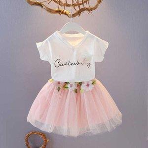 2021 fashion children's clothing 2 pieces set wear short sleeve suit pure cotton top + 2-piece puffy summer dress princess skirt