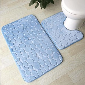 Bath Mat 2 Piece Set Cobblestone Pattern Toilet Cover Foot Pad Non-slip Absorbent Bathroom Doormat Flannel Soft Bath Rug Carpet OWF5295