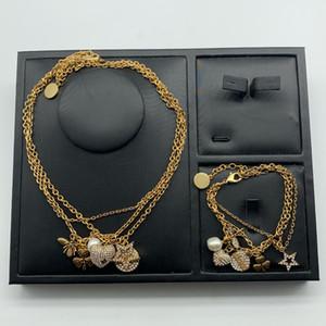 Dijia abelha star pérola multi camada colar feminino d família temperamento moda amor diamante bracelete femyiass