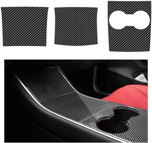 Center Console Wrap for Tesla Model Y Model 3 ABS Console Cover Interior Decoration Wrap Kit Carbon Fiber