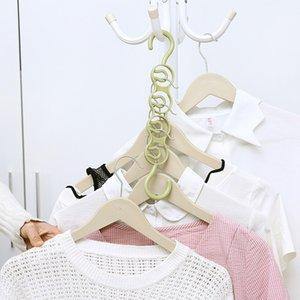 Plastic Household Hanger Storage Rack Wardrobe Multifunctional 4 Hole Hanger Simple Hook Save Space 3 Colors GWF5181