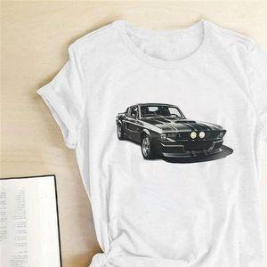 Spor Araba Ptinting Kadın T Gömlek Kısa Kollu Rahat Yaz T Gömlek Femme Kadınlar 2021 Bayanlar Mujer Camisetas Için Giysileri Tops