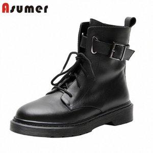 Asumer 2020 Tamanho Grande 42 Botas do tornozelo Mulheres Genuíno couro liso sapatos lace up fivela outono outono inverno botas punk casual sapatos mulher mens l g10x #