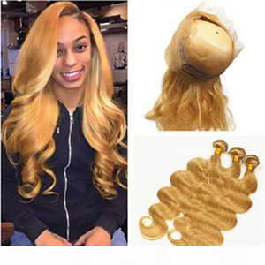 """#27 Strawberry Blonde Body Wave Brazilian Hair Bundles with 360 Closure Honey Blonde Wavy 360 Lace Frontal 22.5x4x2"""" with Weaves 3Bundl"""