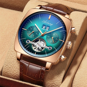 İzle Erkekler Lüks Mekanik Otomatik Chronograph Kare Büyük Arama İzle Hollow Su Geçirmez Yeni Erkek Moda Saatler Swiss 210310