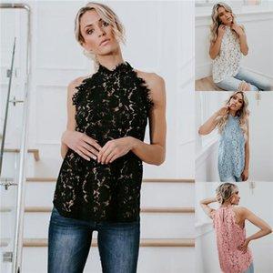 Stand kleidung aushöhlen schlanke frauen sexy tops tshirt weibliche spitze sommer designer tshirts sleeveless collar subta
