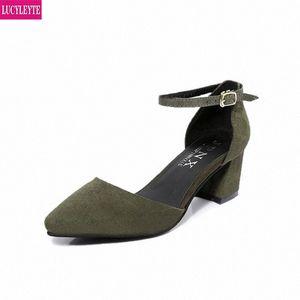 5 cm con sandali estate femmina ruvido con semplice parola fibbia baou roma scarpe appuntite tacco alto scarpe estate signore sandali da donna 29JP #
