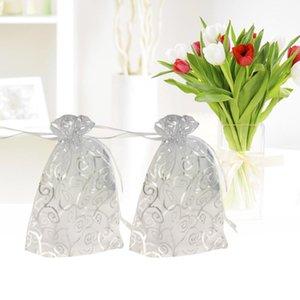 50 قطع صغيرة الأورجانزا شير لصالح أكياس هدية البسيطة الفضة الروطان نمط المجوهرات الحقائب التفاف الأورجانزا الرباط أكياس لحضور حفل زفاف
