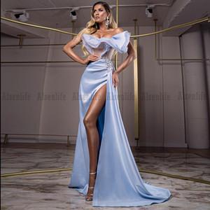 Off the Shoulder Prom Dress Side Split Formal Celebrity Evening Dress Blue Saudi Arabic Party Gown
