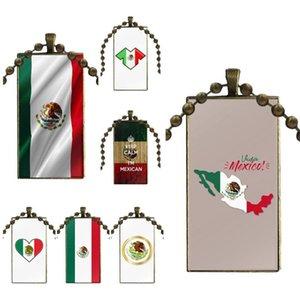 Mexiko-Flagge für Frauen Modeschmuck Schmuck mit bronziertem Glas Cabochon Choker Lange Anhänger Rechteck Halskette